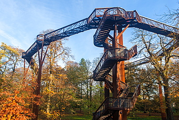 The Treetop Walkway in autumn at Kew Gardens, UNESCO World Heritage Site, Greater London, England, United Kingdom, Europe
