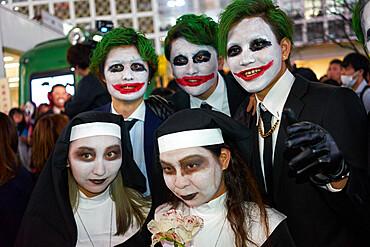 Nuns and jokers at the Halloween celebrations in Shibuya, Tokyo