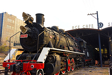 Old Steam train, now part of the 798 Art Zone (Dashanzi Art District) in Beijing, China, Asia