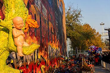 Child sculpture and King Kong graffiti at the 798 Art Zone (Dashanzi Art District) in Beijing, China, Asia