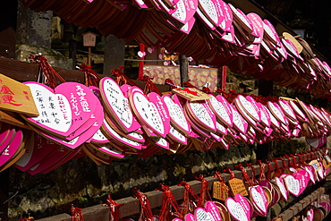 Heart shaped votives wishing good luck to new marriages at Kasuga Wakamiya Shrine in Nara, Honshu, Japan, Asia