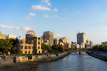 Atomic Bomb Dome (Genbaku Dome), UNESCO World Heritage Site, and the Motoyasu River in Hiroshima, Japan, Asia