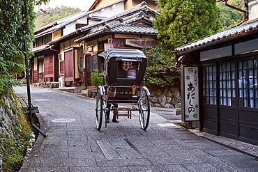 Saga Toriimoto, a narrow preserved historical street in Arashiyama, Kyoto, Japan, Asia