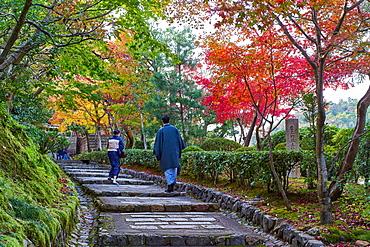 Path leading to the Adashino Nenbutsuji Temple in Arashiyama, Kyoto, Japan, Asia