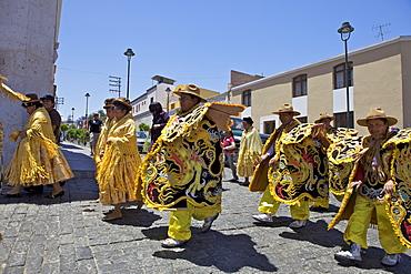 Wedding procession with traditionally dressed Peruvians, Arequipa, peru, peruvian, south america, south american, latin america, latin american South America