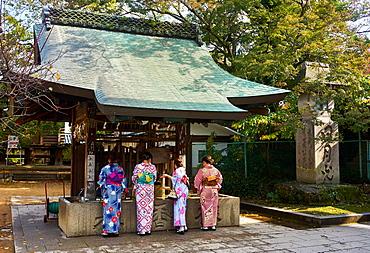 Japanese women in kimonos washing hands before entering the Tenmangu Shrine, Kyoto, Japan, Asia