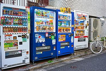 Drink vending machines in Tokyo, Japan, Asia