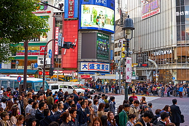 Crowds wating to cross the Shibuya Crossing, Tokyo, Japan, Asia