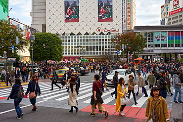 Crowds walking through the Shibuya Crossing, Tokyo, Japan, Asia