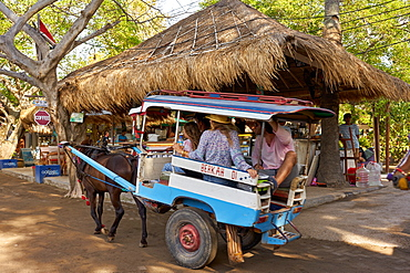 Horse carts (cidomos) used for transportation on the Gili Islands, Indonesia, Southeast Asia, Asia