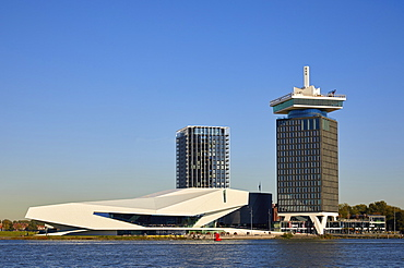Eye Film Museum and A'dam tower in Amsterdam Noord (North), Amsterdam, North Holland, The Netherlands, Europe