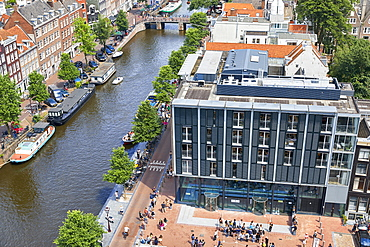 Aerial view of the Anne Frank House in Amsterdam, North Holland, The Netherlands, Europe