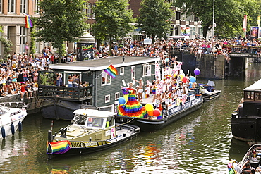 Boat at Gay Pride parade, Canal parade in Amsterdam, North Holland, The Netherlands, Europe