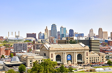 Downtown skyline of Kansas City and Union Station, Kansas City, Missouri, United States of America, North America