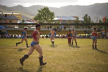 Mongolian wrestlers, Naadam Festival Tsetserleg, Mongolia