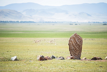 Deer stones (steles decorated with engravings representing mainly deer, weapons and geometric figures) - Valley High Tamir - Site Tsatsyn Ereg - Mongolia