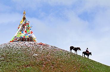 Rider and stupa at the Lapst? - Tibet China
