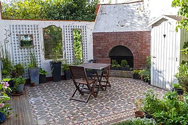Dining area in a patio, autumn, Pas de Calais, France