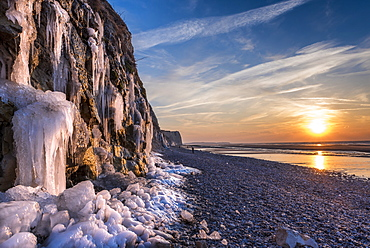 Cliffs of Cap Blanc-Nez in winter, Pas de Calais, France