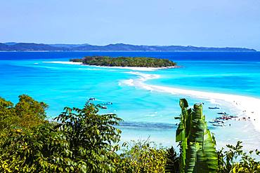 Sandbank linking two islands, Nosy Iranja, Nosy Be, Madagascar