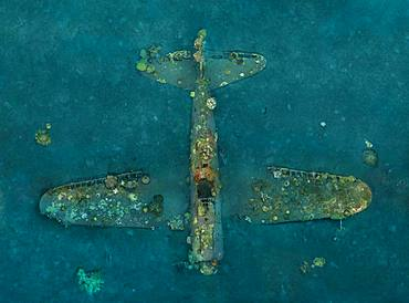 Tara Pacific expedition - november 2017 Zero wreck, vertical view Orthomosaic from 3D photogrammetry (13500 x 10000 px). D: 15 m Kimbe Bay, papua New Guinea, Coral growth on this wreck is from a period of 74 years ! The ZERO, is a Japanese WW2 fighter plane wreck. This Zero wreck was discovered in January 2000 by local William Nuli while he was freediving for sea cucumbers. He asked the Walindi Plantation Resort dive team if they might know what it was, and when they investigated they uncovered the intact wreck of a Zero fighter, resting on a sedimented bottom in 15 m depth. This World War II Japanese fighter is almost completely intact. The plane is believed to have been ditched, the pilot is believed to have survived, but was never found on the island. He never returned home. Maybe he disappeared in the jungle? On 26th December 1943, during the battle of Cape Gloucester, the Japanese pilot made an emergency landing, ditching his Mitsubishi A6M Zero plane into the sea approximately 100m off West New Britain Province. The plane was piloted by PO1 Tomiharu Honda of the 204st K?k?tai. His fate is unknown but it is believed the he made a controlled water landing after running out of fuel and survived. Although he failed to return to his unit, the plane was found with the throttle and trim controls both set for landing and the canopy was open. There are no visible bullet holes or other shrapnel damage and the plane is still virtually intact after over 70 years underwater. It is a A6M2 Model 21 Zero, made famous for its use in Kamikaze attacks by the Japanese Imperial Navy. The wreck has the Manufacture Number 8224 and was built by Nakajima in late August 1942.