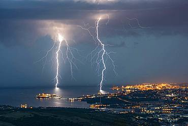 Two branching lightning strikes in Trieste (Italy). Two lightning strikes branched to Trieste, during the very electric storm of August 25, 2018