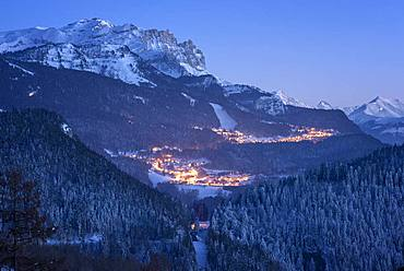 Ski resort Les Carroz, at dusk, and massif of Faucigny, Haute-Savoie, Alps, France