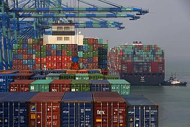 Containers and container ships, Port Kelang, Malaysia.