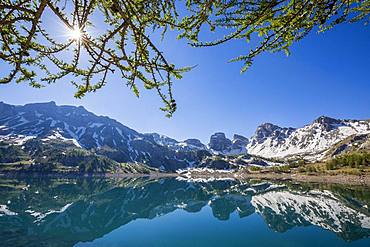 Reflections of Lake Tours on Lake Allos (2226 m), Haut-Verdon, Mercantour National Park, Alps, France