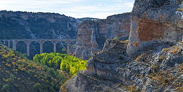 Viaduct over the river riaza, Hoces del Río Riaza Natural Park, Río Riaza, Maderuelo, Segovia, Castilla y Leon, Spain, Europe
