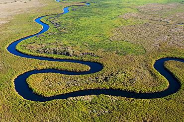 Aerial view of Okavango River, Okavango Delta, Botswana.