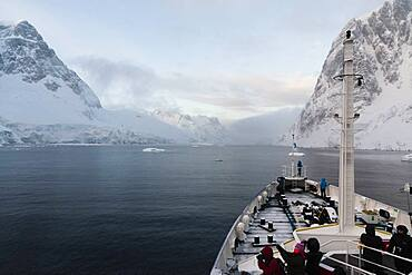 Plancius cruise ship in the Lemaire channel, Antarctica.