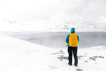 A snowstorm hits a tourist watching the landscape in Neko Harbour, Antarctica.