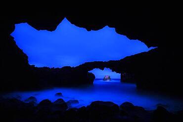 Night photography of basalt arch on the Iron island, Las Puntas la Frontera Tenerife, Spain