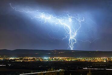 Thunderstorm over the Cevennes during night time, Pierrelatte, Dr?me, France