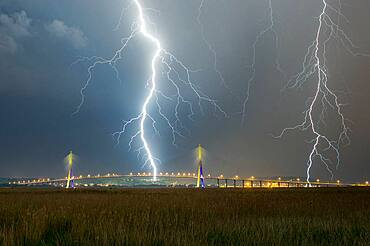 Thunderstorm over Le Havre and Normandy viaduct, France