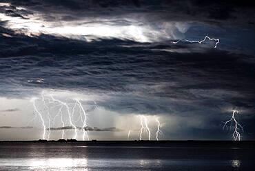 Thunderstorm in the Mediterranean off Tarragona the night of August 9-10, 2016, Sant Carle de la Rapita, Ebro Delta, Tarragona, Spain