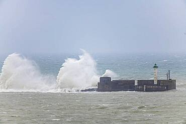 The Carnot dike hit by the waves during the storm Ciara, Boulogne sur mer, February 2020, Hauts de France, France