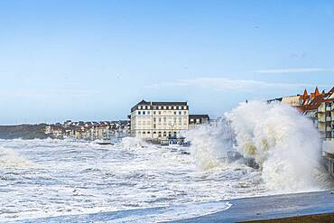 Waves hitting the Wimereux embankment during the Ciara storm, February 2020, Hauts de France, France