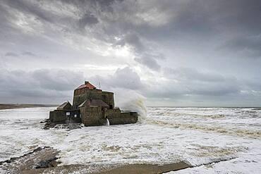 Fort d'Ambleteuse during storm Ciara, February 2020, Hauts de France, France