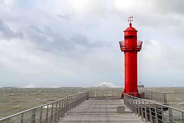 Pier of Boulogne sur mer during storm Ciara, Hauts de France, France