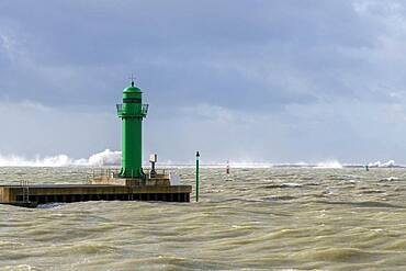 Exit from the port of Boulogne sur mer during storm Ciara, Hauts de France, France