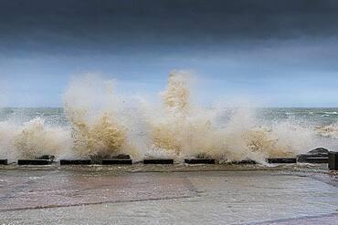 Waves hitting the Wimereux embankment during a storm, Hauts de France, France