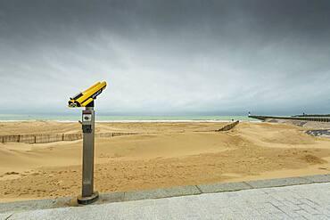 Calais beach and its pier in winter, Pas-de-Calais, Hauts de France, France