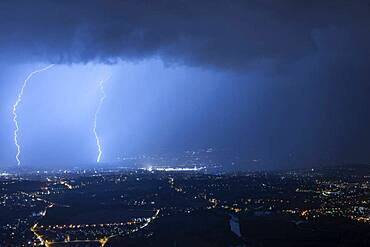 Thunderstorm over Geneva, August 18, 2028. Shooting from Mont Sal?ve, Haute-Savoie, France