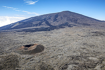 Piton de la Fournaise, one of the most active volcanoes on the planet, Reunion, overseas department and region of the French Republic and an Indian Ocean island in East Africa