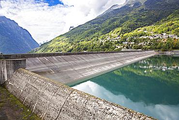 Verney dam and village of Allemont, Isere, France