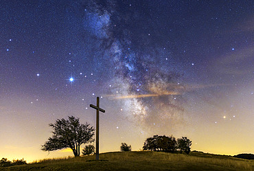 Jupiter, Saturn and the Milky Way over the Jura Mountains, Crêtes du Grand Colombier, South of the Jura Massif, France