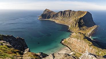 Panoramic landscape of Vaeroy Island south of Lofoten, Norway