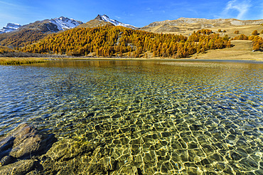 Lac des Sagnes, mountain lake (1905 m) nestled in Haute Ubaye, Alpes de Haute Provence, France